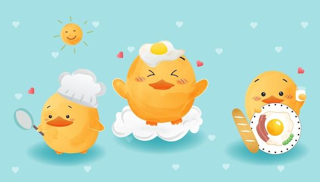 Pato bonito conjunto estilo aquarela de ovo frito.