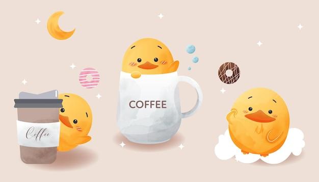 Pato bonito definido no estilo aquarela do café.