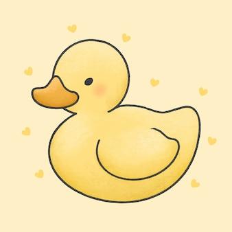 Pato bonito dos desenhos animados mão estilo desenhado