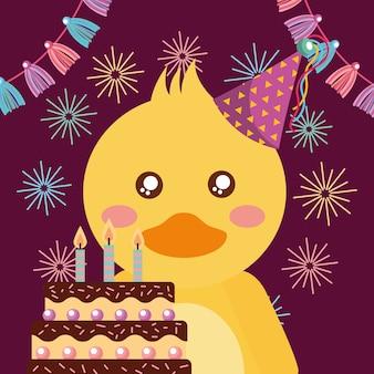 Pato bonito e cartão do feliz aniversario do bolo