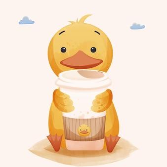 Pato bonito e xícara de café de pato.