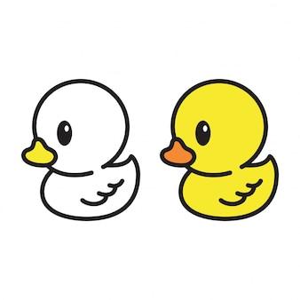 Pato branco e amarelo