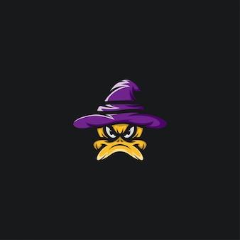 Pato chapéu bruxa design ilustração