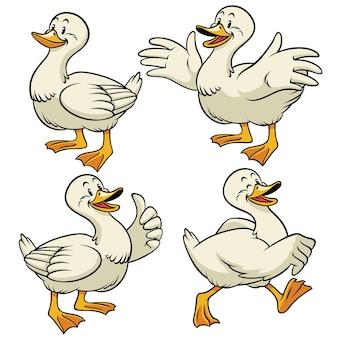 Pato com conjunto de estilo de desenho animado