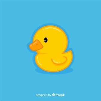 Pato de borracha amarelo bebê plana