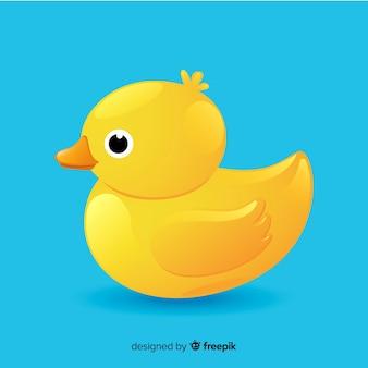 Pato de borracha amarelo bonito ilustrado