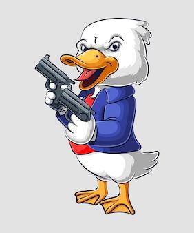 Pato de desenho animado, segurando uma arma em roupas da máfia