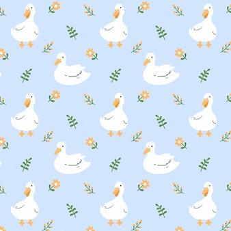 Pato e flor sem costura de fundo