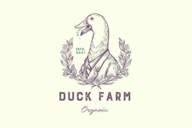 Pato engraçado desenhado à mão com logotipo vintage da suíte de agricultura orgânica