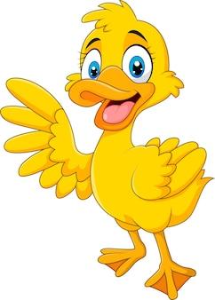 Pato engraçado dos desenhos animados, acenando a mão isolado no fundo branco