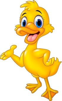 Pato engraçado dos desenhos animados apresentando isolado no fundo branco
