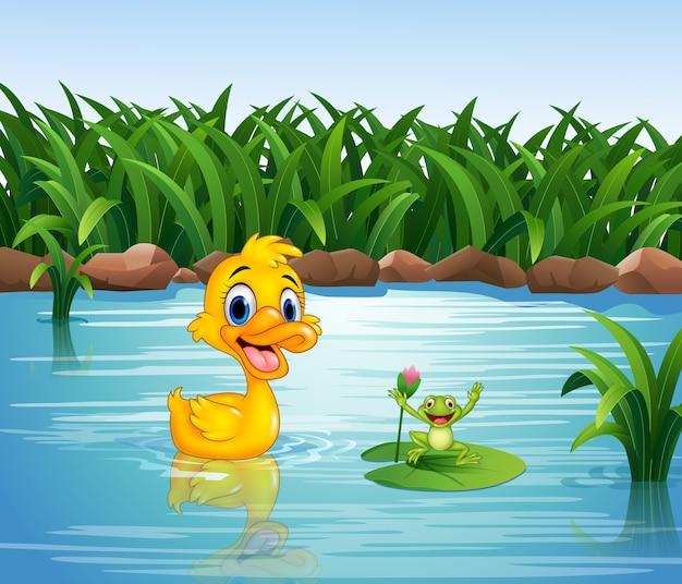 Pato engraçado dos desenhos animados com sapo