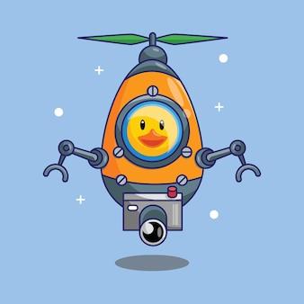 Pato fofo astronauta pilotando uma nave espacial drone no espaço desenho animado ilustração vetorial