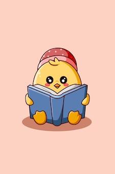 Pato fofo lendo um livro ilustração de desenho animado Vetor Premium