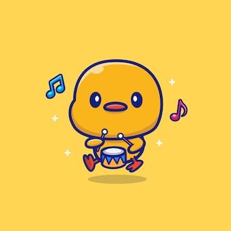 Pato fofo tocando tambor