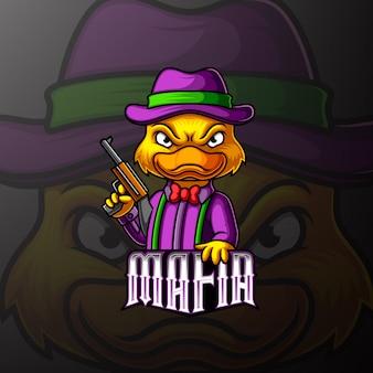 Pato mafia mascote e esporte design de logotipo