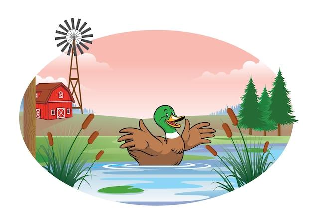 Pato no meio da lagoa