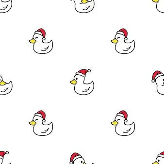 Pato padrão sem emenda natal chapéu de papai noel