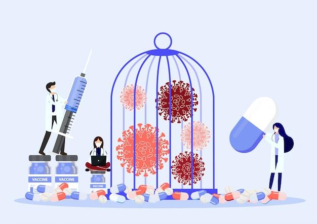 Patógeno de vírus bloqueado na gaiola.