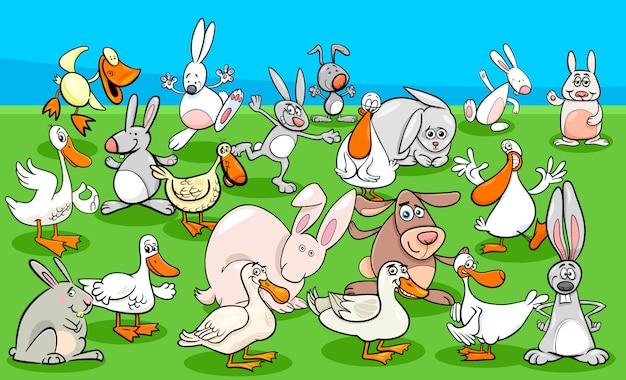 Patos e coelhos fazenda animal personagens grupo