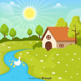 Patos no fundo de primavera do rio