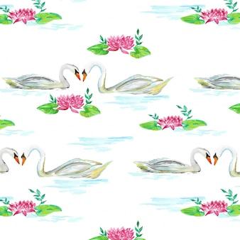 Patos no padrão de aquarela de lagoa
