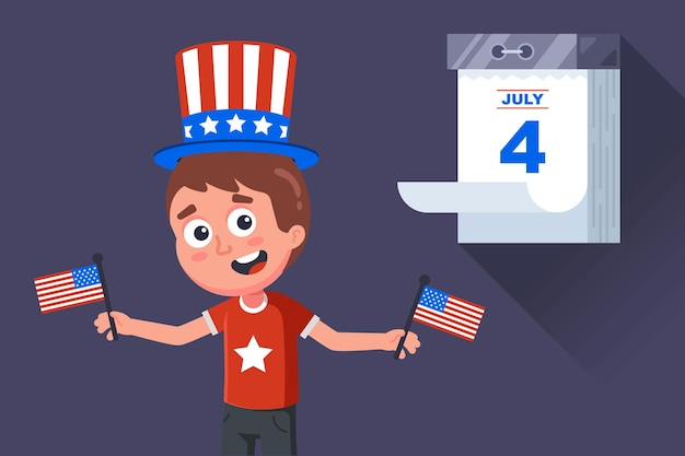 Patriota americano comemora o dia da independência nos estados unidos. ilustração de personagem plana vector.