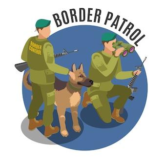Patrulha de fronteira com cachorro