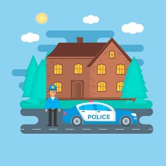 Patrulha policial em uma estrada com carro de polícia, policial, casa, paisagem natural. policial de uniforme, veículo com luzes piscando no telhado. ilustração em vetor plana.