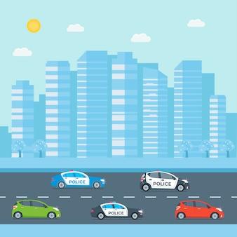 Patrulha policial em uma estrada com carro de polícia, policial, cidade, paisagem natural. policial de uniforme, veículo com luzes piscando no telhado. ilustração em vetor plana.
