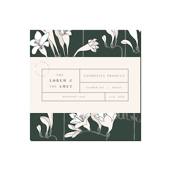 Patten para cosméticos com design de modelo de etiqueta. flores de frésia. cosmético orgânico e natural.