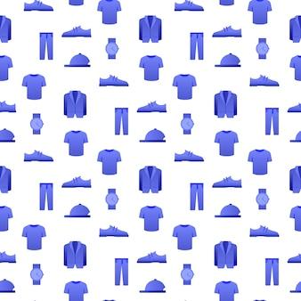Pattern clothes calçados e relógios seamless.