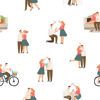 Pattter sem costura ilustração de casal feliz amor