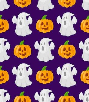 Patttern com desenhos animados abóboras e fantasmas