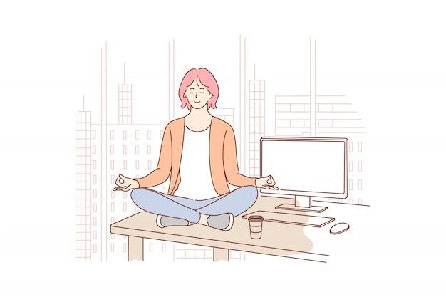 Pausa, descanso, yoga, meditação, relaxamento, conceito do negócio.