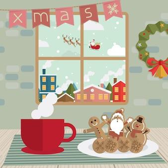 Pausa para o café de natal e biscoitos na janela do quarto