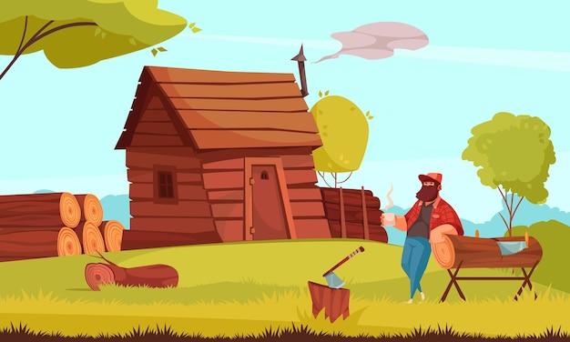 Pausa para o café do lenhador em frente a uma cabana de madeira com pilhas de madeira serrada.