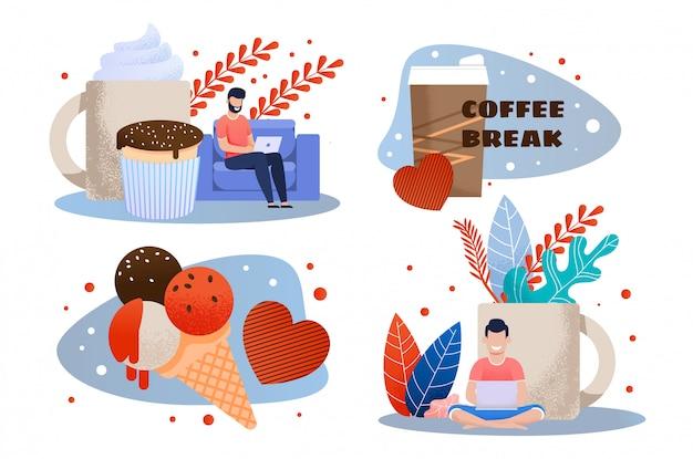 Pausa para o café e lanche no trabalho conjunto de metáfora plana