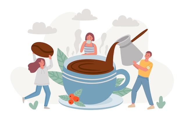 Pausa para o café. grande xícara de bebida quente da manhã e pessoas bebendo café expresso e relaxam. cartaz de café com amigos aproveite o conceito de vetor de hora do café. bebida quente de manhã, ilustração de café no café da manhã