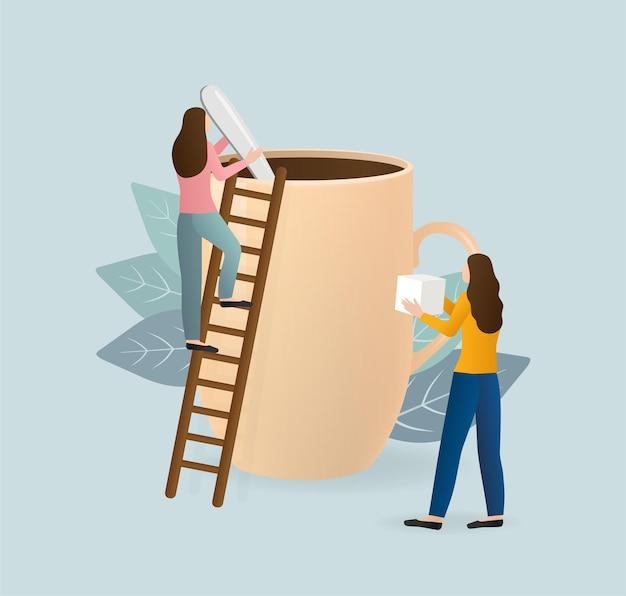 Pausa para o café. personagem para design de conceito.