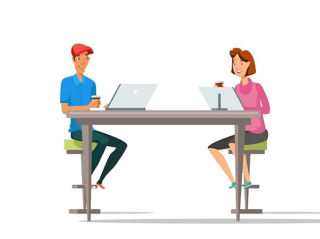 Pausa para o café, personagens de desenhos animados trabalhando com laptops.