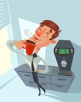 Pausa para o café. trabalhador de escritório feliz.