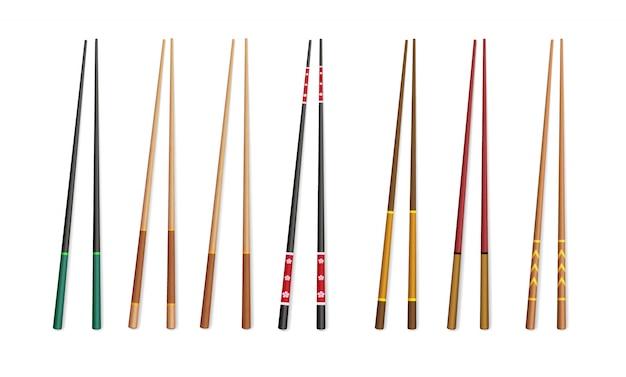 Pauzinhos 3d. utensílios asiáticos tradicionais de bambu e plástico para comer.