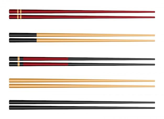 Pauzinhos de comida de sushi, bambu asiático de molho de soja.