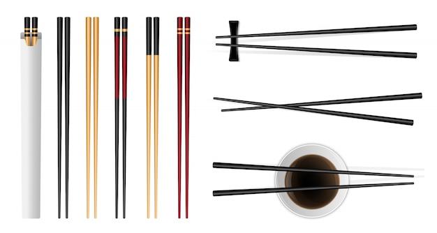 Pauzinhos de comida de sushi com molho de soja asiático