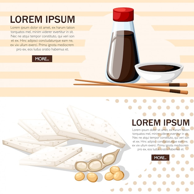 Pauzinhos japoneses e molho de soja em uma tigela branca. molho de soja em frascos transparentes com tampas vermelhas. tofu e grãos de soja. ilustração em fundo branco. página do site e aplicativo móvel
