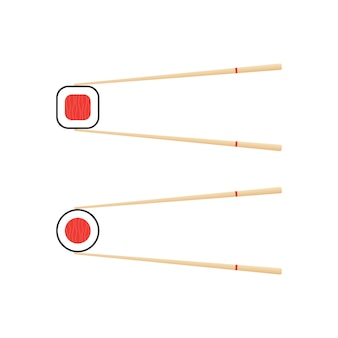 Pauzinhos segurando o rolo de sushi. conceito de lanche, sushi, nutrição exótica, restaurante de sushi.