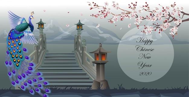 Pavão chinês com belas árvores de ameixa, atravessando a ponte na montanha