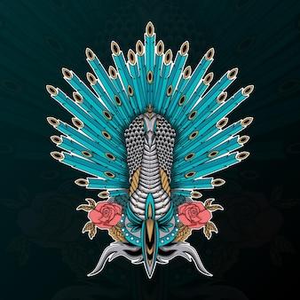 Pavão com ilustração de flor e ornamento zentangle