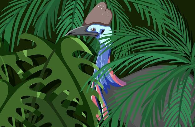Pavão escondido na selva